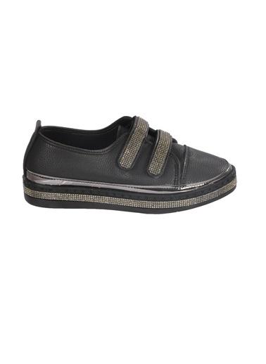 Mhd Mhd 2516 Taşlı Bant Detaylı Günlük Kadın Ayakkabı Siyah